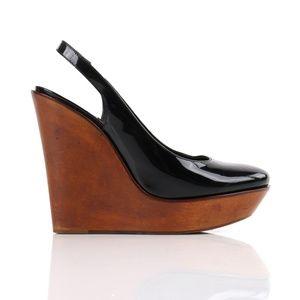 Chloe Patent Leather Slingback Wooden Wedge Heels